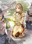 1girl 2boys armor black_gloves black_legwear blonde_hair bow company_name copyright_name dress fire_emblem fire_emblem:_three_houses fire_emblem_cipher gloves hair_bow helmet itou_misei long_hair long_sleeves low_ponytail mercedes_von_martritz multiple_boys official_art outdoors thigh-highs violet_eyes