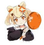 1girl anger_vein angry animal_ears arknights bear_ears black_shirt blonde_hair candy_hair_ornament closed_mouth commentary eyebrows_visible_through_hair food_themed_hair_ornament frown frying_pan gummy_(arknights) hair_ornament highres holding_frying_pan looking_at_viewer medium_hair orange_eyes sailor_collar school_uniform serafuku shirt simple_background sketch solo soyoong_jun twintails upper_body white_background