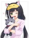 1girl ;d animal_ear_fluff animal_ears anz32 black_hair cat_ears collarbone eyebrows_visible_through_hair green_eyes heart holding holding_stuffed_animal karyl_(princess_connect!) long_hair long_sleeves looking_at_viewer low_twintails multicolored_hair one_eye_closed open_mouth pink_pajamas princess_connect! princess_connect!_re:dive smile solo streaked_hair stuffed_animal stuffed_cat stuffed_toy twintails twitter_username white_background white_hair
