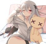 1girl ahoge bangs bat_hair_ornament bell blush breasts collarbone commentary_request eyebrows_visible_through_hair frown grey_hair grey_jacket hair_ornament hood hooded_jacket jacket kamu_(geeenius) looking_at_viewer medium_breasts no_panties object_hug one_eye_closed original red_eyes ribbon simple_background solo tail tail_bell thigh_strap white_background white_ribbon