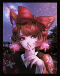 1girl animal_ear_fluff animal_ears bow brown_hair close-up earrings finger_to_mouth fingernails hair_bow highres japanese_clothes jewelry kimono large_bow long_fingernails looking_up original rakugaki_suruhito red_bow shushing solo violet_eyes yukata