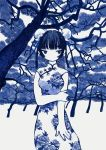 1girl absurdres black_hair blue_eyes blue_nails blue_theme breasts china_dress chinese_clothes double_bun dress feet_out_of_frame highres huge_filesize medium_breasts monochrome original solo tree zinbei