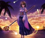 1girl barefoot blue_eyes brown_hair closed_mouth detached_sleeves final_fantasy final_fantasy_x floral_print full_body green_eyes hakama heterochromia highres holding holding_staff hoshikuzu_ajisai japanese_clothes light_smile lips looking_at_viewer obi outdoors palm_tree print_hakama purple_hakama sash short_hair solo staff standing sunset tree water white_sleeves yuna_(ff10)