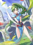 1girl bangs blue_sky boots closed_mouth clouds cloudy_sky commentary_request company_connection company_name copyright_name day earrings eyebrows_visible_through_hair fire_emblem fire_emblem:_the_blazing_blade fire_emblem_cipher gloves green_eyes green_hair holding holding_sword holding_weapon jewelry knee_boots long_hair lyn_(fire_emblem) necklace official_art outdoors pelvic_curtain petals ponytail ringozaka_mariko sheath shiny shiny_hair shiny_skin short_sleeves sky smile solo sword tied_hair weapon