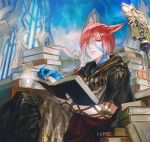 1boy animal_ears bangs book book_stack cat_ears crystal_exarch cup final_fantasy final_fantasy_xiv frischenq g'raha_tia hair_over_one_eye looking_at_viewer male_focus miqo'te open_book parted_bangs red_eyes redhead short_hair sitting solo teacup