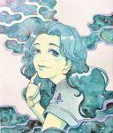 1girl bangs blue_hair bunbun_hop diamond_wa_kudakenai flower from_side highres index_finger_raised jojo_no_kimyou_na_bouken looking_at_viewer parted_bangs red_flower smile solo traditional_media upper_body watercolor_(medium) yamagishi_yukako