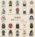 bikini black_neckwear brown_background cape capelet coat dress jacket japanese_clothes kantai_collection kiso_(kantai_collection) kitakami_(kantai_collection) kuma_(kantai_collection) kurohiruyume long_sleeves neckerchief no_humans obi ooi_(kantai_collection) pants pleated_skirt pouch red_neckwear sailor_collar santa_costume sash scarf school_uniform serafuku short_sleeves shorts simple_background skirt sweater swimsuit tama_(kantai_collection) translation_request twitter_username white_bikini white_neckwear