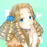 1girl birry1228 blue_eyes blue_flower charlotte_(honzuki_no_gekokujou) drill_hair flower hair_flower hair_ornament hand_up heart honzuki_no_gekokujou juliet_sleeves light_brown_hair long_hair long_sleeves portrait puffy_sleeves solo