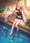 1girl absurdres artist_name barefoot closed_mouth fire_emblem fire_emblem_fates gloves hairband highres long_hair pink_eyes pink_hair plant potted_plant shield shoes_removed sitting skirt soleil_(fire_emblem) solo streyah sword water weapon white_hairband white_skirt