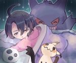 1boy ;o ahoge bangs black_hair commentary_request gen_1_pokemon gen_7_pokemon gengar green_background gym_leader hair_over_one_eye head_on_pillow highres lying mask mask_removed mimikyu nono_(nonotarot) on_stomach one_eye_closed onion_(pokemon) open_mouth pillow pokemon pokemon_(creature) pokemon_(game) pokemon_swsh short_hair sleepy violet_eyes white_mask