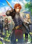 2boys 4girls annette_fantine_dominic arm_up armor belt black_headwear blonde_hair blue_sky boots bow brown_hair clouds company_name copyright_name day dorothea_arnault fire_emblem fire_emblem:_three_houses fire_emblem_cipher flag from_behind from_side garreg_mach_monastery_uniform grass hair_bow hat high_heel_boots high_heels hilda_valentine_goneril holding long_hair long_sleeves low_ponytail mercedes_von_martritz multiple_boys multiple_girls nij_24 official_art one_eye_closed open_mouth orange_hair outdoors parted_lips polearm redhead short_hair sky sylvain_jose_gautier tree uniform weapon