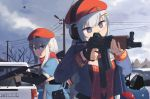 2girls 9a-91 9a-91_(girls_frontline) aiming bare_tree beret braid broken_window bullet_hole car casing_ejection cleavage_cutout clouds cloudy_sky firing girls_frontline gloves ground_vehicle hair_ornament hat headset highres hinami047 long_hair looking_at_another looking_to_the_side military military_uniform motor_vehicle multiple_girls necktie open_mouth ots-12 ots-12_(girls_frontline) pouch red_scarf scarf shell_casing sidelocks silver_hair single_braid sky star-shaped_pupils star_(symbol) star_hair_ornament symbol-shaped_pupils tree uniform upper_body