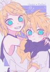 1boy 1girl aqua_eyes blonde_hair blush bow brother_and_sister copyright_name hair_bow hair_ornament hairband hairclip halftone highres kagamine_len kagamine_rin looking_at_viewer milk_o neckerchief parted_lips sailor_collar shirt short_hair short_sleeves siblings sleeveless smile star_(symbol) twins upper_body vocaloid white_bow white_hairband white_shirt yellow_eyes yellow_neckwear