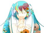 butterfly closed_eyes flower gears hatsune_miku headphones patterned rainbow smile twintails vocaloid white