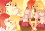 blush closed_eyes fukuji_mihoko holding_hands kiss multiple_girls piaroo saki school_uniform takei_hisa tongue yuri