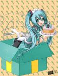 apron aqua_eyes aqua_hair box cake food hachune_miku hairband hatsune_miku highres in_box in_container inoshishi long_hair pastry smile solo twintails very_long_hair vocaloid waitress
