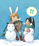 animal animal_ears boss_(artist) bunny_ears charlotte charlotte_e_yeager chibi coat e earmuffs ears francesca francesca_lucchini lucchini multiple_girls rabbit scarf snow snowman strike strike_witches witches yeager