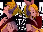 blonde_hair closed_eyes hand_on_headphones headphones kagamine_len kagamine_rin short_hair twins vocaloid