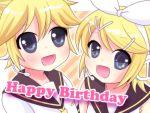 blonde_hair happy_birthday kagamine_len kagamine_rin open_mouth short_hair siblings twins vocaloid