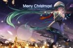 alphonse_(white_datura) aqua_hair christmas christmas_tree hatsune_miku long_hair night pantyhose scarf skirt solo star very_long_hair vocaloid winter winter_clothes