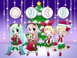 3girls bell blonde_hair blush_stickers chibi christmas christmas_tree detached_sleeves hair_ornament hat hatsune_miku highres holding_hands kagamine_len kagamine_rin long_hair looking_at_viewer megurine_luka meiya_neon multiple_girls open_mouth pink_hair santa_hat short_hair shorts skirt snow star thigh-highs vocaloid