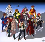 4chan 6+boys bandages belt boota boots cape chain choukou_senki_kikaiou crossover cyberbots domon_kasshu drill folka_albark g_gundam getter_robo gloves gundam highres jacket junpei_todoroki kabuto_kouji kamina kamina_shades katana male manly mazinger_z multiple_boys muscle nagare_ryoma old_man red_scarf sanger_zonvolt saotome_jin scarf shishiou_gai sideburns simon spikes spikewible sunglasses super_robot_wars sword tengen_toppa_gurren_lagann torn_clothes trench_coat vest weapon yuusha_ou_gaogaigar yuusha_series