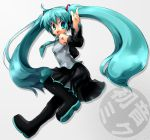 blue_hair detached_sleeves hatsune_miku long_hair necktie ozaki thighhighs twintails vocaloid