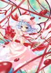 achunchun blood blue_hair blurry checkerboard_cookie chun_(friendly_sky) chun_(pixiv75764) cookie cup depth_of_field embellished_costume fang floating_object food frills hat pink red_eyes remilia_scarlet ribbon ribbons short_hair skirt skirt_set smile solo sweets teacup touhou wavy_hair wings