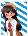 1girl alternate_hair_length alternate_hairstyle bangs beret blue_background blush brown_headwear brown_skirt casual collared_shirt commentary diagonal_stripes eyebrows_visible_through_hair girls_und_panzer hat high-waist_skirt highres isobe_noriko leaning_forward long_hair long_sleeves looking_at_viewer neck_ribbon open_mouth red_neckwear ribbon shirt silhouette skirt solo standing striped striped_background sweatdrop tanutika white_shirt wig
