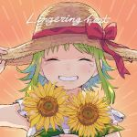 1girl bare_arms blush clenched_teeth close-up closed_eyes crying dot_nose english_text eyebrows_visible_through_hair face facing_viewer fingernails flower gradient gradient_background green_hair grin gumi hand_on_headwear hand_up happy hat holding holding_flower orange_background raputsue red_ribbon ribbon shadow short_hair short_hair_with_long_locks sidelocks simple_background smile solo straw_hat striped striped_background sun_hat sunflower tears teeth upper_body very_short_hair vocaloid yellow_flower