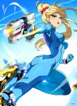 1girl artist_name ass bangs blonde_hair blue_bodysuit blue_eyes blush bodysuit breasts fighting_stance gloves gun high_ponytail highres lips long_hair looking_at_viewer medium_breasts mole mole_under_mouth open_mouth ponytail samus_aran simple_background skin_tight smile solo super_smash_bros. tom_skender weapon zero_suit