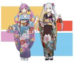 2girls absurdres ahoge alternate_costume anchor_hair_ornament aqua_hair bag bangs blue_eyes closed_mouth commentary_request eyebrows_visible_through_hair flower full_body furisode hair_flower hair_ornament handbag highres hololive japanese_clothes kagura_mea kagura_mea_channel kimono long_sleeves looking_at_viewer minato_aqua multicolored multicolored_eyes multicolored_hair multiple_girls obi obiage obijime open_mouth purple_hair sash sidelocks silver_hair sketch smile standing streaked_hair tabi twintails violet_eyes virtual_youtuber weiyinji_xsk wide_sleeves yellow_eyes zouri
