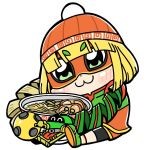 1girl :3 arms_(game) bangs beanie bkub blonde_hair blush bowl chibi commentary dragon_(arms) eyebrows_visible_through_hair eyebrows_visible_through_mask food full_body green_eyes hat highres holding holding_bowl knit_hat megawatt_(arms) min_min_(arms) noodles orange_headwear ramen simple_background sitting solo white_background