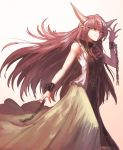 1girl arm_up armpit_peek chain commentary_request cuffs eyebrows_visible_through_hair feet_out_of_frame fingernails floating_hair flower from_side furrowed_eyebrows gradient gradient_background green_skirt half-closed_eyes horns ibaraki_douji_(touhou) long_fingernails long_hair looking_at_viewer pink_background pink_eyes pink_hair pointy_ears red_flower red_rose rose shackles sharp_fingernails shirt skirt sleeveless sleeveless_shirt slit_pupils smirk solo standing sunyup tabard thick_eyebrows touhou very_long_hair white_shirt
