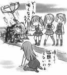 >:) 5girls arashio_(kantai_collection) belt belt_buckle blush braid buckle buttons closed_eyes double_bun dress enemy_lifebuoy_(kantai_collection) gameplay_mechanics greyscale kantai_collection kasumi_(kantai_collection) long_braid long_hair long_sleeves michishio_(kantai_collection) monochrome multiple_girls ooshio_(kantai_collection) parasol pinafore_dress pt_imp_group remodel_(kantai_collection) shinkaisei-kan shirt short_hair side_ponytail single_braid smirk supply_depot_hime translation_request twintails twitter_username umbrella v-shaped_eyebrows wss_(nicoseiga19993411)