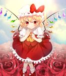 1girl absurdres ankle_socks arms_up blonde_hair blue_sky blurry blush clouds commentary_request cravat depth_of_field english_commentary eyebrows_visible_through_hair flandre_scarlet floral_background flower foreshortening hand_on_own_chin hat hat_ribbon highres hyaku_paasento knees_together_feet_apart looking_at_viewer mary_janes mixed-language_commentary mob_cap one_side_up petticoat puffy_short_sleeves puffy_sleeves red_eyes red_flower red_footwear red_rose red_skirt red_vest ribbon rose shirt shoes short_hair short_sleeves sitting skirt sky smile solo touhou vest white_headwear white_legwear white_shirt wings yellow_neckwear