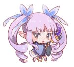1girl :o amana_(pocketkey) bangs blue_kimono blue_ribbon blue_skirt blush brown_eyes brown_footwear chibi eyebrows_visible_through_hair full_body hair_ribbon holding holding_staff japanese_clothes kimono kyouka_(princess_connect!) long_hair long_sleeves looking_at_viewer open_mouth orb pointy_ears princess_connect! princess_connect!_re:dive purple_hair ribbon ringlets sidelocks simple_background skirt socks solo staff standing twintails v-shaped_eyebrows very_long_hair white_background white_legwear wide_sleeves zouri
