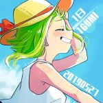 1girl 2019 arm_at_side bare_arms bare_shoulders blue_sky blurry blush bokeh character_name clenched_teeth close-up closed_eyes clouds cloudy_sky condensation_trail day depth_of_field floating_hair from_side furrowed_eyebrows green_hair grin gumi hand_on_headwear hand_up happy hat outdoors profile raputsue red_ribbon ribbon shirt short_hair shoulder_blush sky sleeveless sleeveless_shirt smile solo straw_hat summer sun_hat sunlight sweat teeth upper_body very_short_hair vocaloid white_shirt