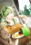 1girl absurdres blurry_foreground bookshelf cake commentary doughnut drink drinking_straw food forest fruit fur-trimmed_jacket fur_trim goggles goggles_on_head green_eyes green_hair green_nails gumi highres holding holding_food indoors jacket jinsei_reset_button_(vocaloid) kinoshita_akira looking_at_viewer nail_polish nature open_mouth orange_jacket plate room short_hair_with_long_locks sidelocks signature smile solo strawberry upper_body vocaloid window zipper_pull_tab