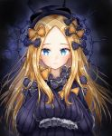 1girl abigail_williams_(fate/grand_order) admjgdme bangs black_bow black_headwear blonde_hair blue_eyes blush bow breasts fate/grand_order fate_(series) forehead highres long_hair long_sleeves looking_at_viewer multiple_bows orange_bow parted_bangs polka_dot polka_dot_bow sleeves_past_fingers sleeves_past_wrists
