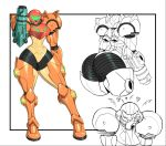 1girl armor ass ass_focus blush full_armor glowing gun hand_on_own_face heart helmet metroid mossy pauldrons samus_aran science_fiction shoulder_armor simple_background solo standing thick_thighs thighs weapon white_background
