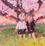 2girls absurdres alternate_costume animal_ears arms_at_sides black_hair black_jacket black_sailor_collar black_skirt blazer cherry_blossoms closed_eyes closed_mouth fang furrowed_eyebrows giant_panda_(kemono_friends) grass hand_up head_tilt highres holding_hands jacket kemono_friends lesser_panda_(kemono_friends) long_sleeves looking_at_viewer multicolored_hair multiple_girls neckerchief no_nose open_clothes open_jacket open_mouth orange_hair outdoors panda_ears pero_(sabuaka_bacon) petals pleated_skirt red_neckwear red_panda_ears red_panda_tail sailor_collar school_uniform serafuku short_hair skirt smile standing striped_tail sweater tail tareme tree two-tone_hair white_hair white_neckwear wind wing_collar