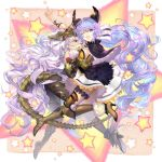 2girls animal_ears armor blue_eyes blue_hair bodysuit breasts granblue_fantasy hair_ribbon high_heels highres hug large_breasts long_hair medusa_(shingeki_no_bahamut) multiple_girls one_eye_closed open_mouth osamu_(jagabata) ribbon satyr_(granblue_fantasy) shawl shingeki_no_bahamut silver_hair skirt tail thighs very_long_hair wavy_hair yellow_eyes