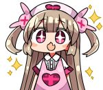 >_< +_+ 1girl :d apron armband bangs blush_stickers brown_hair bunny_hair_ornament chibi collared_shirt dress_shirt eyebrows_visible_through_hair fang hair_between_eyes hair_ornament hat heart kanikama long_hair looking_at_viewer lowres natori_sana nurse_cap open_mouth pink_apron pink_headwear sana_channel shirt short_sleeves simple_background smile solo sparkle two_side_up upper_body very_long_hair violet_eyes virtual_youtuber white_background white_shirt
