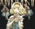 alice_margatroid alternate_costume bangs blonde_hair blue_dress blue_eyes capelet doll doll_joints dress gem hairband headpiece jewelry joints nazo_(mystery) open_mouth puffy_sleeves puppet_strings shanghai_doll short_hair string touhou