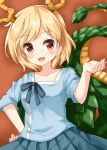 1girl blonde_hair blue_shirt collarbone dragon_girl dragon_horns dragon_tail eyebrows_visible_through_hair hand_on_hip highres horns kicchou_yachie open_mouth orange_background pleated_skirt red_eyes ribbon ruu_(tksymkw) shirt short_hair skirt solo tail touhou turtle_shell upper_body