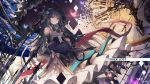 1girl animal arcaea bangs bare_shoulders bird black_bow black_hair black_skirt black_umbrella blue_flower blue_rose blue_sleeves bow brown_bow bug butterfly clock closed_mouth collared_shirt commentary_request detached_sleeves eyebrows_visible_through_hair flower frilled_umbrella grey_eyes hair_bow hair_flower hair_ornament high-waist_skirt highres holding holding_umbrella insect long_hair long_sleeves roman_numerals rose shirt skirt sleeveless sleeveless_shirt solo tairitsu_(arcaea) tsubaki_(yi) umbrella very_long_hair white_shirt wide_sleeves