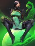1girl ass badcompzero black_background black_footwear black_hair black_legwear bodysuit boots breasts covered_navel green_eyes highres looking_at_viewer mask medium_breasts mouth_mask orb poison short_hair sitting solo thigh-highs thigh_boots tight valorant viper_(valorant)