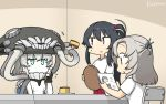 3girls alternate_costume black_hair cake commentary_request dated food glass green_eyes grey_hair hair_tie hamu_koutarou headgear highres kantai_collection kinugasa_(kantai_collection) long_hair medium_hair multiple_girls one_side_up pale_skin ponytail reading red_eyes remodel_(kantai_collection) shinkaisei-kan shirt sidelocks t-shirt table teeth tentacles tray white_shirt white_skin wo-class_aircraft_carrier yahagi_(kantai_collection)