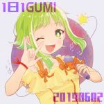 1girl 2019 \m/ alternate_costume blush bracelet character_name close-up collarbone dot_nose eyebrows_visible_through_hair fingernails floating_hair green_eyes green_hair grey_background gumi hand_up happy holding holding_microphone jewelry looking_at_viewer microphone one_eye_closed open_mouth orange_ribbon planet planetary_ring purple_background raputsue ribbon saturn_(planet) shiny shiny_hair shirt short_hair short_hair_with_long_locks simple_background smile solo sparkle star_(symbol) tareme teeth upper_body upper_teeth very_short_hair vocaloid yellow_shirt